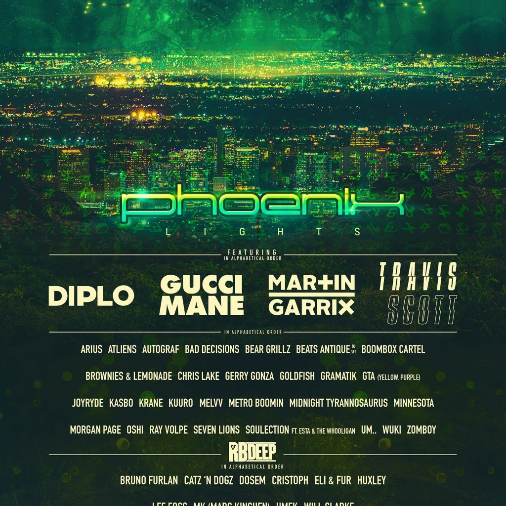 Phoenix Lights 2018 Lineup 1024x1024 - Phoenix Lights Announces Second Round Lineup For 2-day Music Festival Set For April 7 - 8, 2018