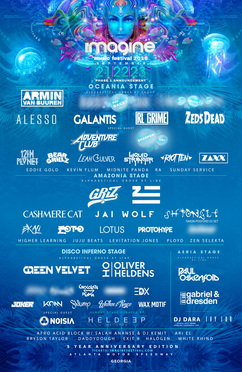 Imagine Muisc Festival 2018 - Imagine Music Festival Celebrates 5th Anniversary With Monstrous First Round Lineup At Atlanta Motor Speedway, September 21-23, 2018