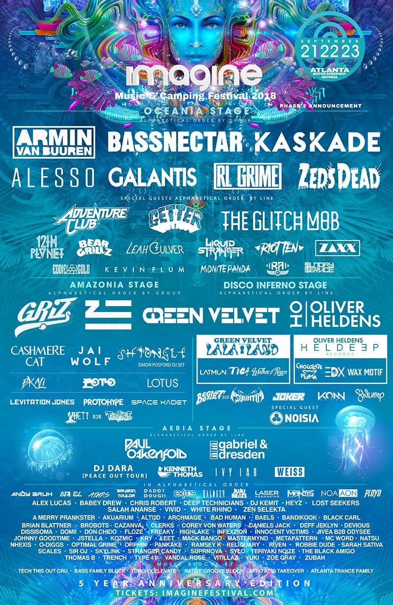 Imagine Music & Camping Festival Lineup 2018