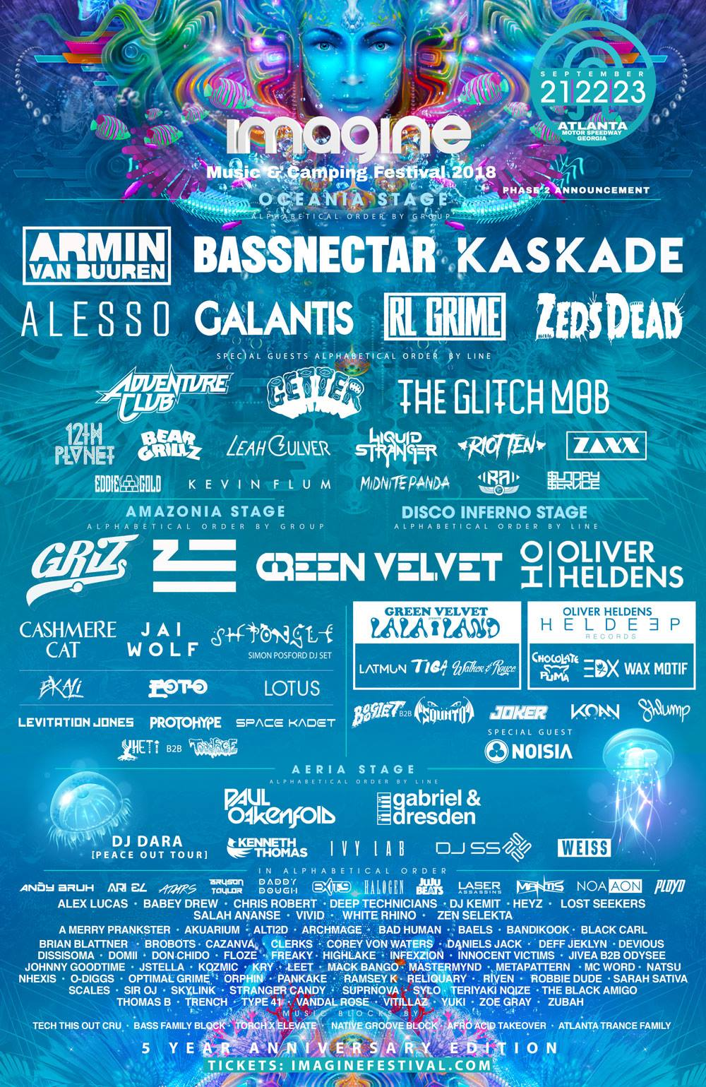 Imagine Music Fesival 2018 Lineup - Bassnectar And Kaskade Join Headliners Armin Van Buuren, Alesso, Galantis, Rl Grime And Zeds Dead For The 5th Anniversary Imagine Music Festival, September 21-23, 2018