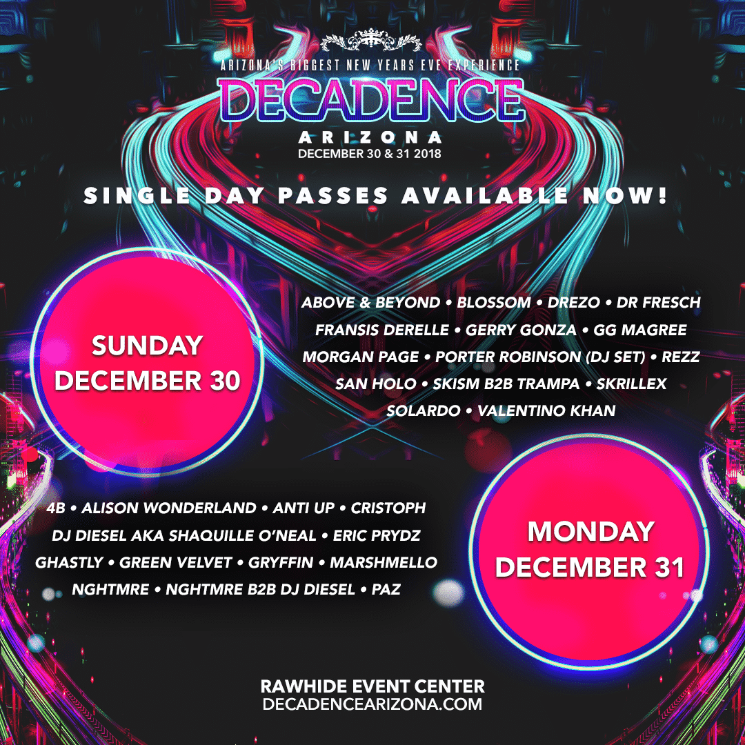 Decadence Arizona 2018 Schedule - Relentless Beats Rounds Out Monstrous Lineup For Decadence Arizona, December 30 & 31, 2018