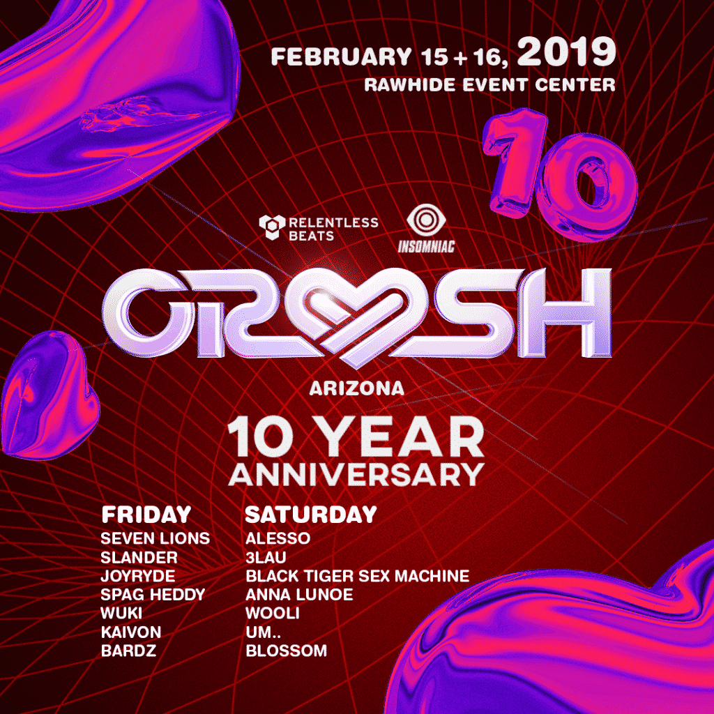Insomniac Crush Arizona Lineup 2019 1024x1024 - 10th Anniversary Crush Arizona Announces A Heart Thumping Final Round Of Artists