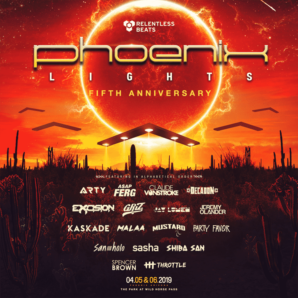 Phoenix Lights Lineup 2019 1024x1024 - Fifth Annual Phoenix Lights Festival Invades The Park At Wild Horse Pass, April 5 - 6, 2019