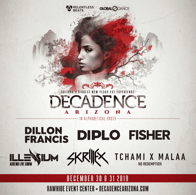 Decadence AZ 2020 - Dillon Francis, Diplo, Fisher, Illenium, Skrillex And Tchami X Malaa Start The Countdown To Decadence Arizona, December 30 & 31, 2019