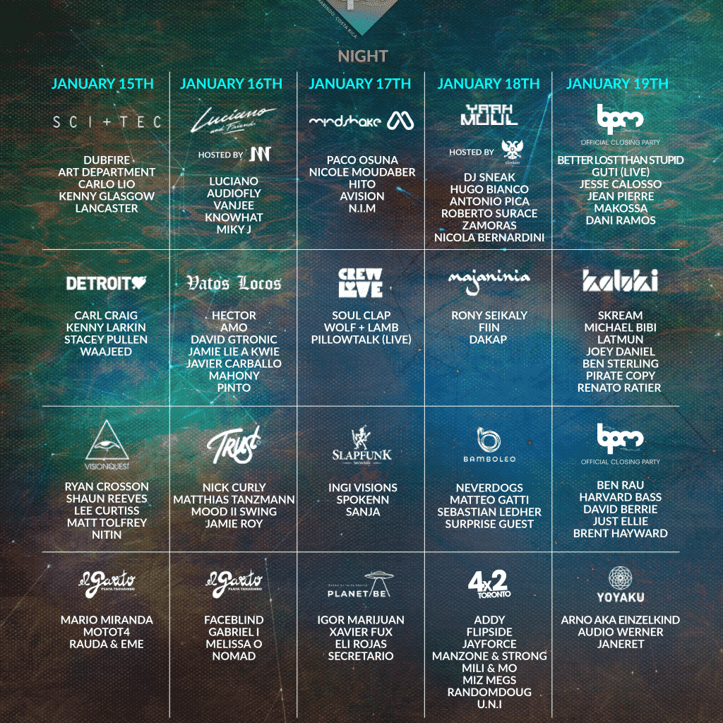 BPM Costa Rica 2020 Day Schedule 1024x1024 - Must-See Artists at BPM Costa Rica 2020