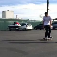 Teamwork in the parking lot today of @volcomskate with @jacksonpilz & @daneburma…