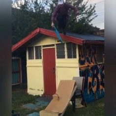 This went wrong in so many waysstarting with the penny board, cardboard to chair…