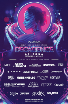 Relentless Beats Unleashes Phase One Lineup For Decadence Arizona, December 30 & 31, 2018