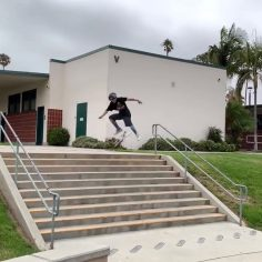 Man size 10 stair kickflip by 9 year young @trae_the_tank #shralpin #skateboard…